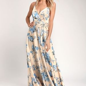 LULUS Champagne Satin Floral Print Maxi Dress